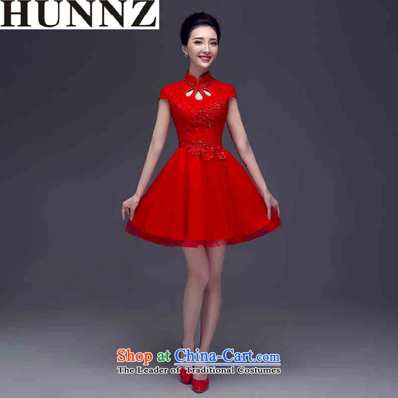 2015 Short, Retro HUNNZ bride wedding dress the wedding banquet dress pure color red XL