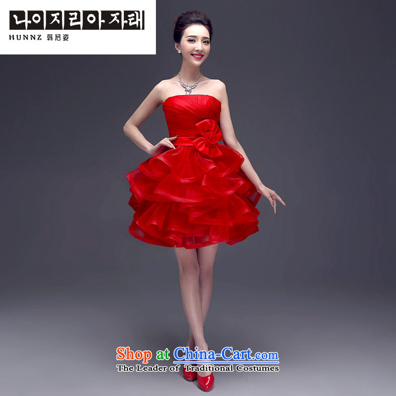 Hannizi 2015 stylish and simple evening dresses and Sau San banquet chest Korean brides wedding dress RED�M