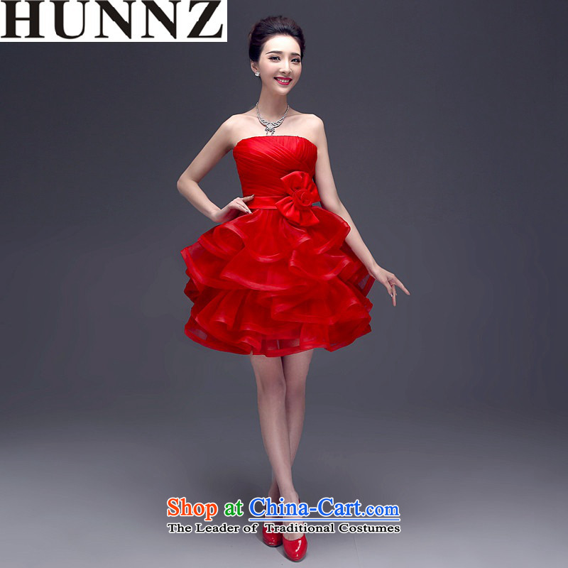 2015 service and bows HUNNZ chest bride wedding dress with Korean flower banquets evening dresses red�XXL