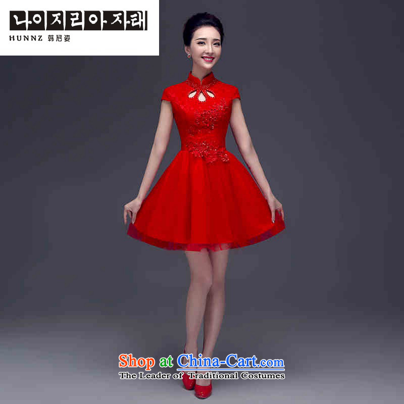 Hannizi 2015 stylish and simple bride Wedding dress-Sau San retro solid color banquet dress RED M