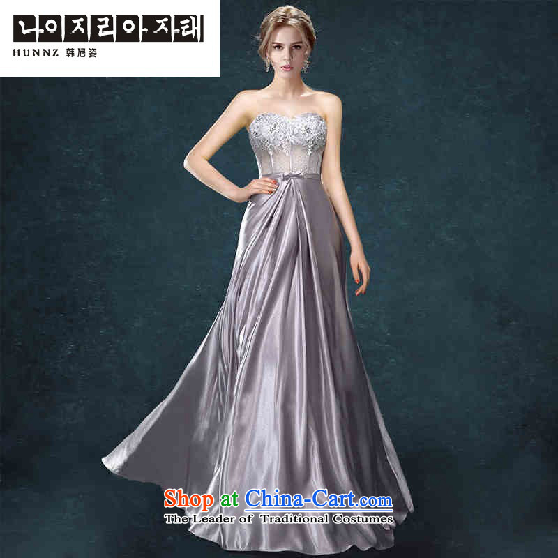Hannizi 2015 stylish and simple Sau San bride wedding dress banquet dinner dress wiping the scoops Gray�L