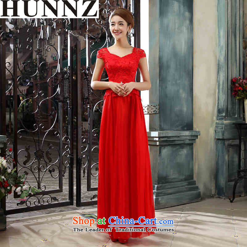 2015 Long dresses HUNNZ elegant bride wedding dress red banquet dinner dress Sau San Red聽XXL