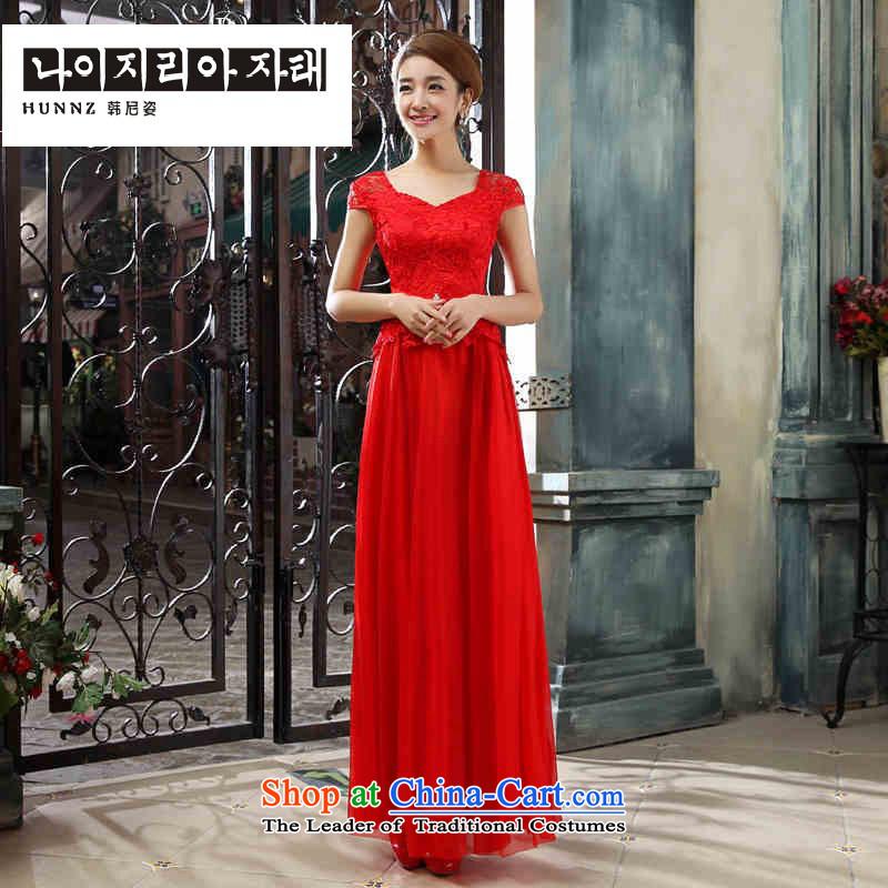 Hannizi 2015 stylish and simple elegance bride wedding dresses Sau San banquet evening dresses redL