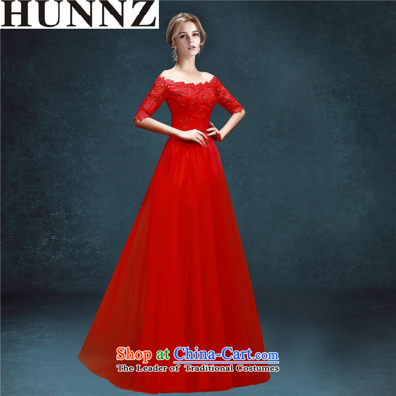 ?      ?Toasting champagne HUNNZ service banquet evening dresses 2015 new spring and summer sweet slotted shoulder bride dress red?XXL