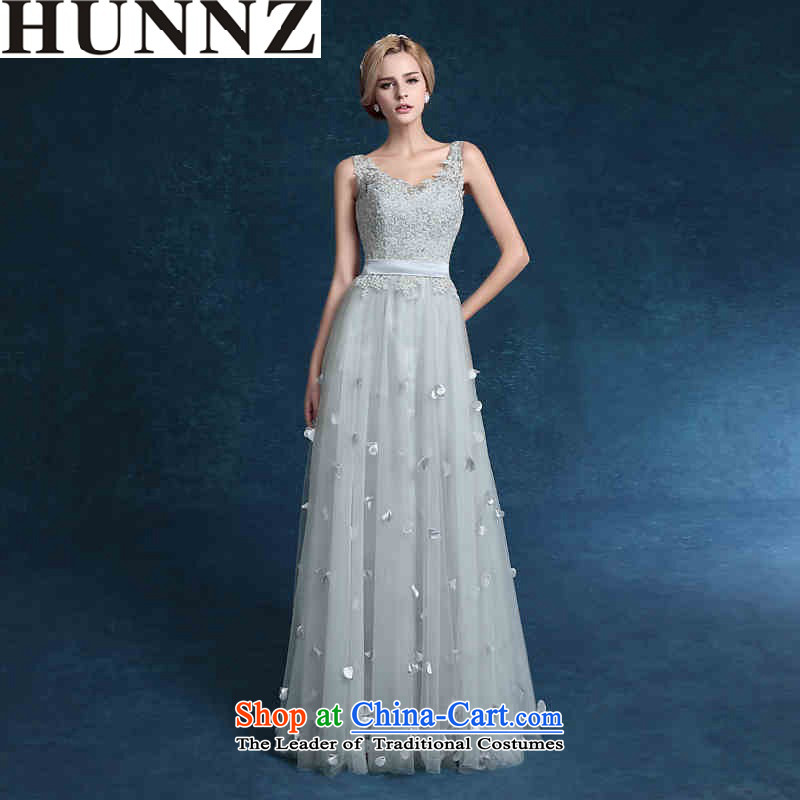 Hunnz 2015 lace straps banquet evening dresses and elegant floral bows service bridal dresses gray gray?S