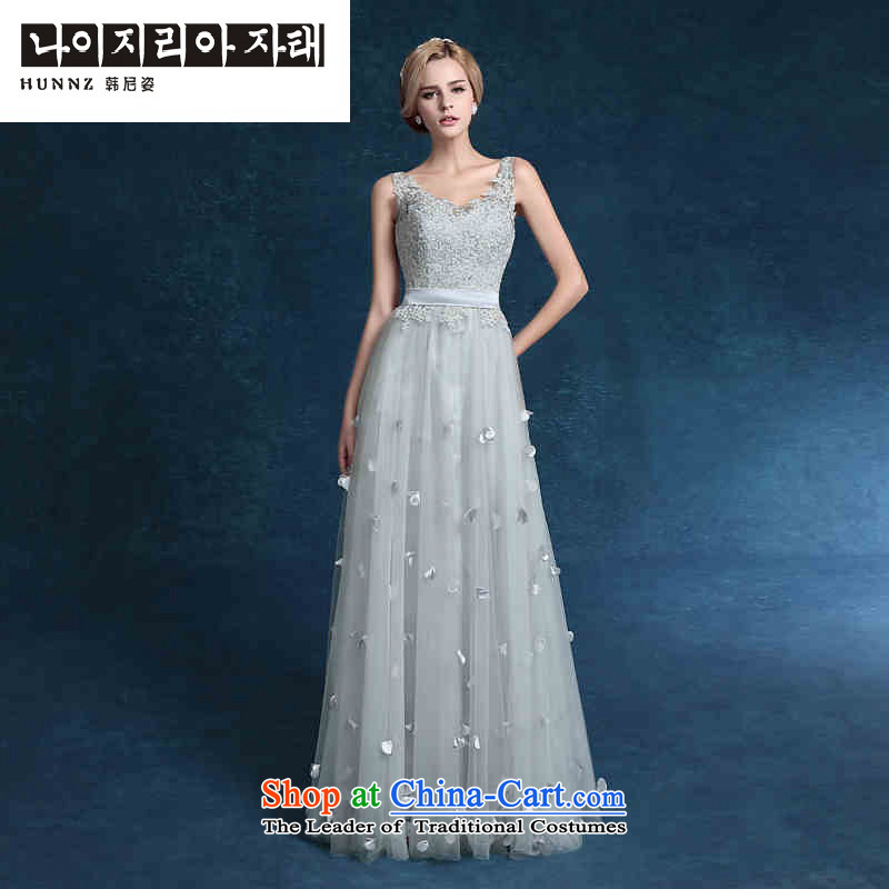 Hannizi 2015 stylish and simple Sau San bride wedding dress lace strap elegant banquet dress gray�XXL