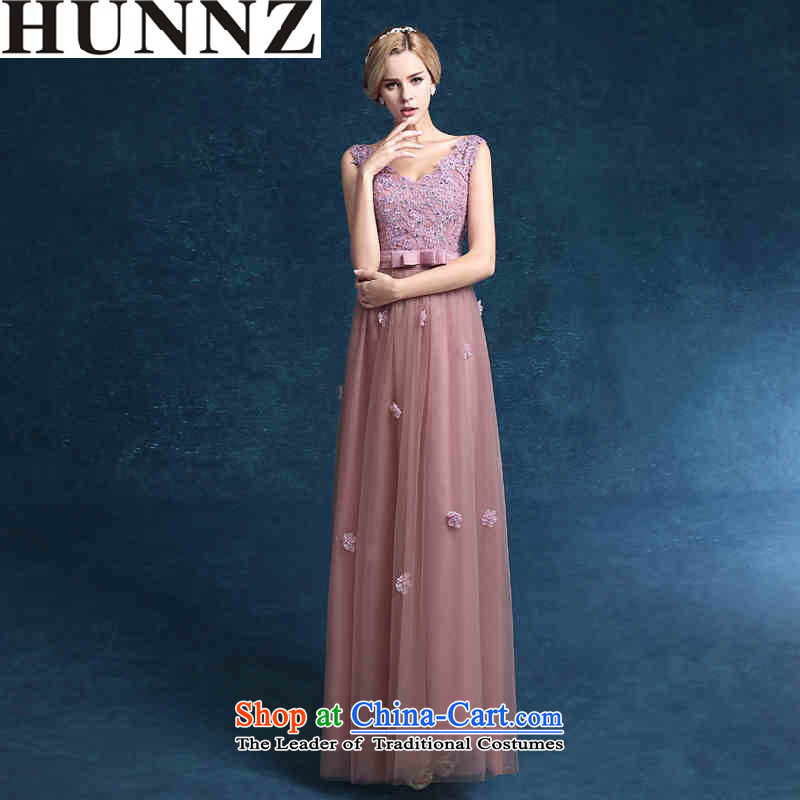 Elegant brides HUNNZ 2015 wedding dress pure color long spring and summer evening dress the usual zongzi banquet Sau San toner�XL
