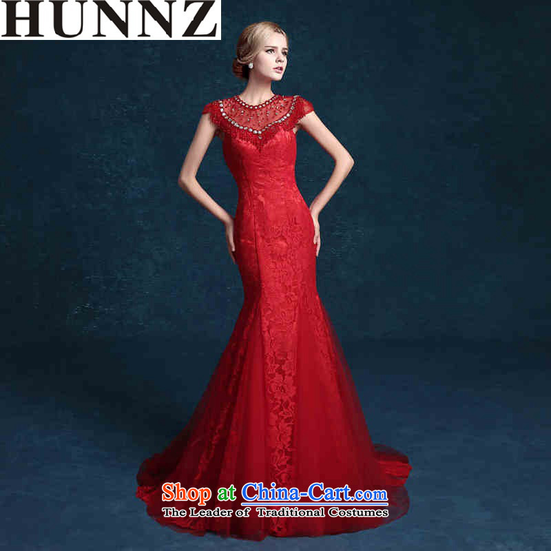 Hunnz 2015 lace long bride booking wedding-dress and chest retro banquet evening dresses red red�S