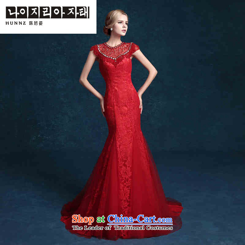 Hannizi 2015 stylish and simple red long brides Sau San Wedding Dress Antique Lace evening dress red?S
