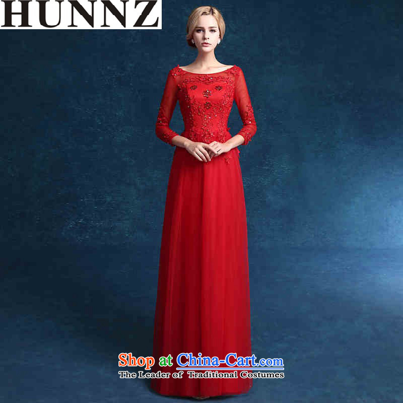Hunnz long 2015 lace banquet evening dresses bows to stylish simplicity bridal dresses Sau San Red?S