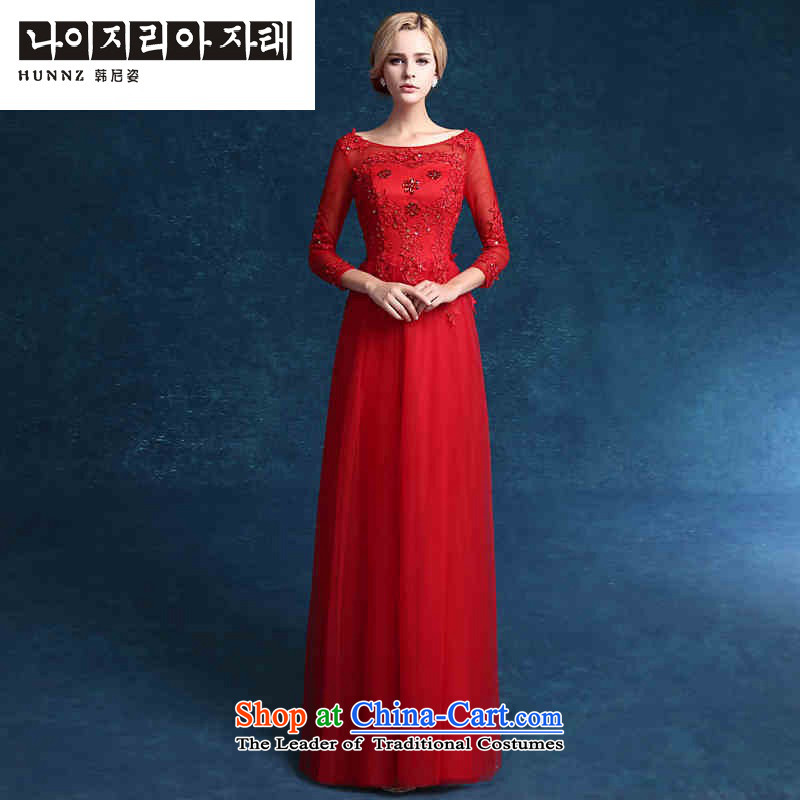 Hannizi 2015 wedding dress stylish bride lace Sau San minimalist banquet evening dresses red聽S
