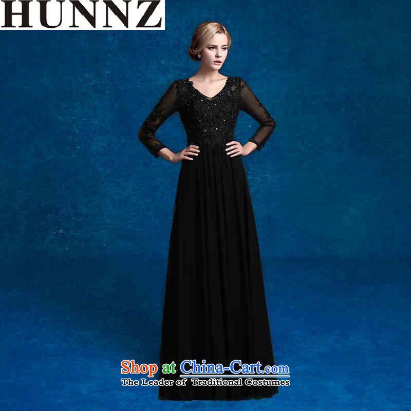 The elegant banquet HUNNZ 2015 evening dress long black is simple and stylish large bows to Sau San black?L