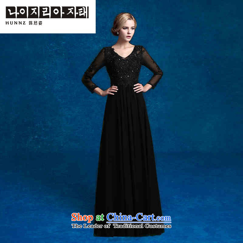 Hannizi 2015 stylish and simple elegant evening dress banquet Sau San V-Neck long serving black?XXL toasting champagne