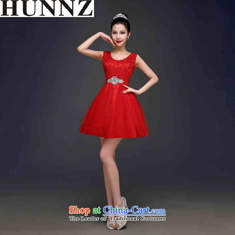 2015 Korean short HUNNZ) Bride wedding dress red tie banquet evening dresses minimalist red�XL