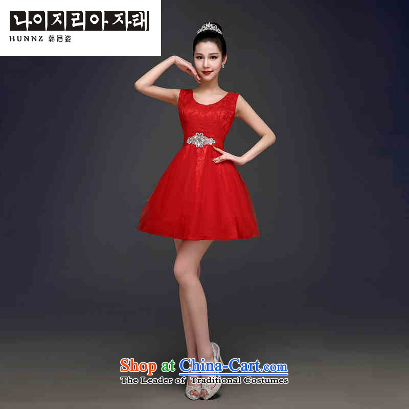 Hannizi 2015 stylish and simple banquet dinner dress red Sau San Korean bridal dresses with red?S