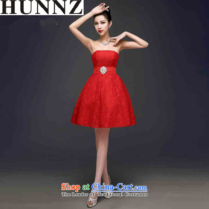 2015 Short of Korea HUNNZ-wiping the chest solid color red bride wedding dress banquet evening dresses red?XL