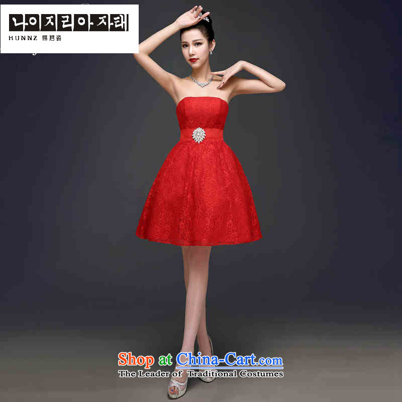 Hannizi 2015 stylish and simple Sau San Korean brides wedding dress wiping the chest pure color evening dresses red?S