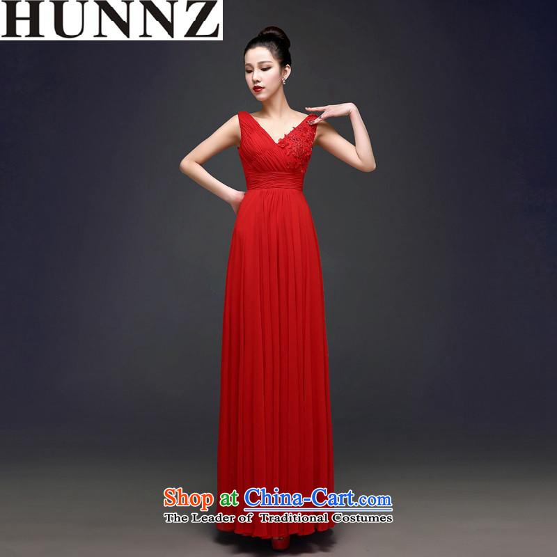 2015 Long dresses HUNNZ bride elegant wedding dress V-Neck banquet evening dresses red Sau San Red?S