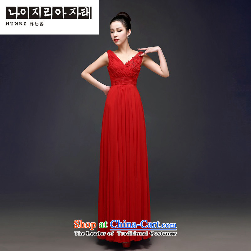 Hannizi 2015 stylish and simple banquet dress Sau San stylish and elegant minimalist wedding dress red?S