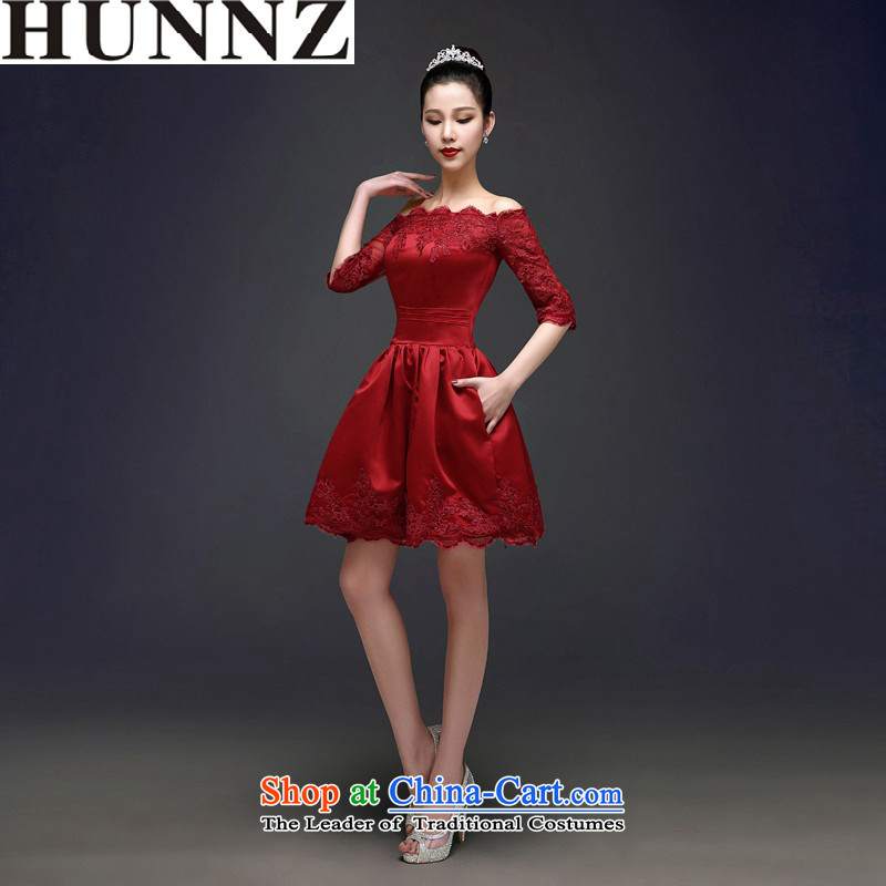 2015 Long dresses HUNNZ slotted shoulder, bridal wedding dress banquet bows services Korean wine red M