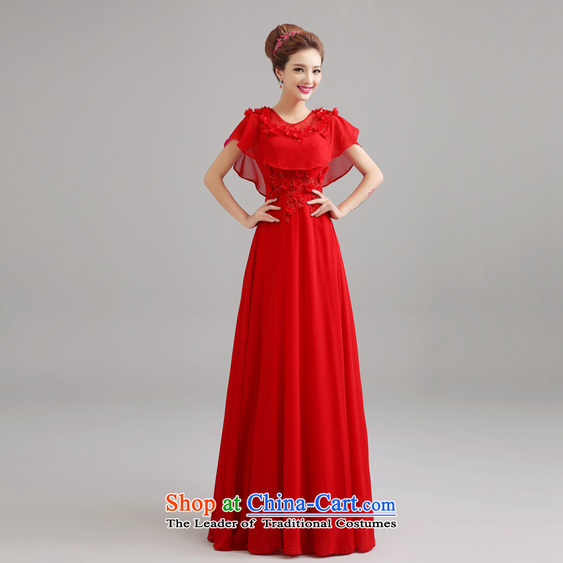 Hannizi 2015 stylish and simple banquet dinner dress a Sau San field shoulder bride wedding dress red?XL