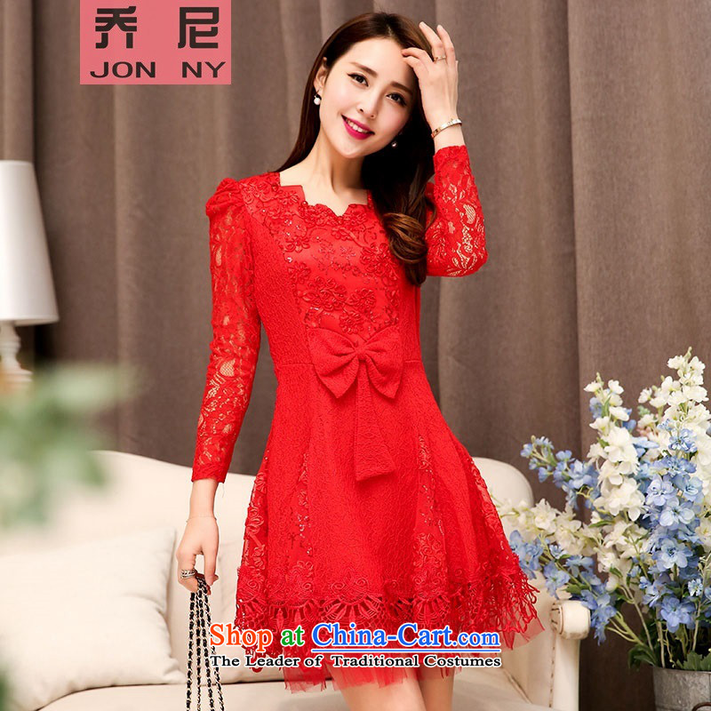 2015 Autumn new for women bow tie, long-sleeved lace fluoroscopy dresses Top Loin of Sau San wedding dress red?XL