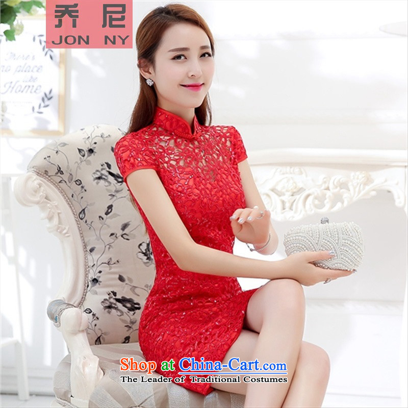 The autumn 2015 new sweet Lace Embroidery check retro flower Foutune of Sau San improved wedding dress bows services qipao RED?M