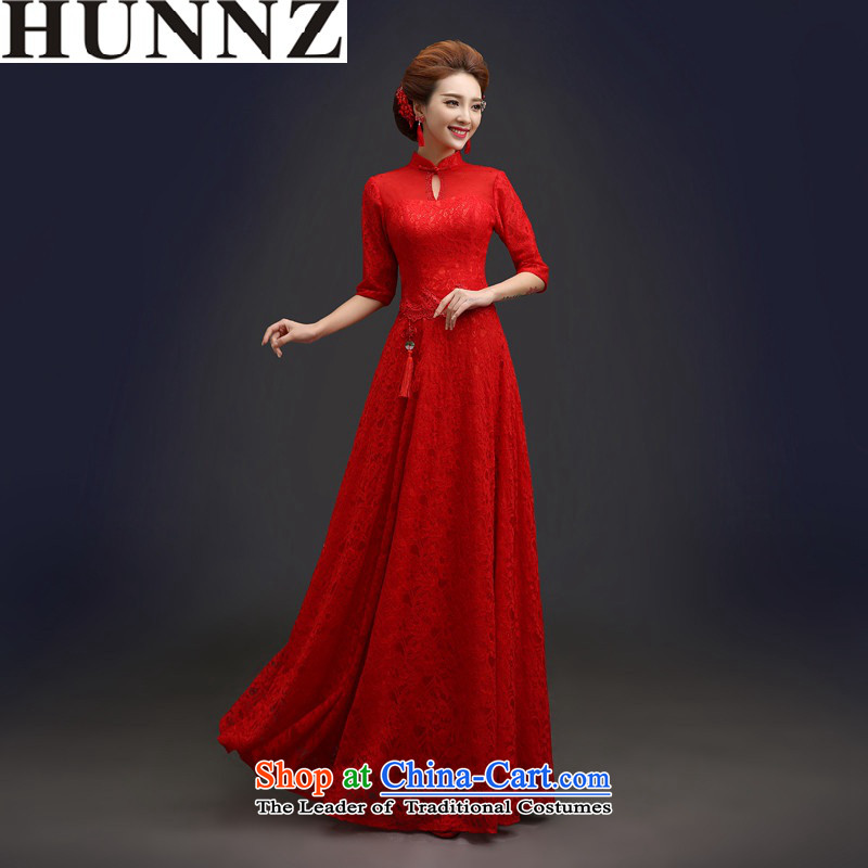 2015 Long dresses HUNNZ palace style bride wedding dress banquet dinner dress pure color long sleeves,�L