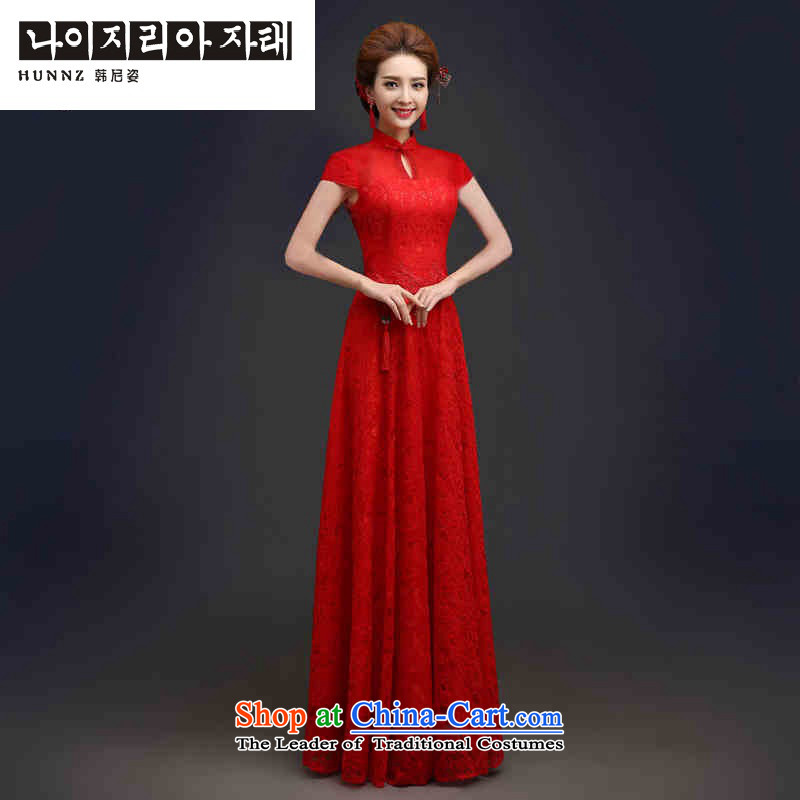 Large stylish 2015 HANNIZI palace style bride wedding dress banquet evening dress long short-sleeved?M