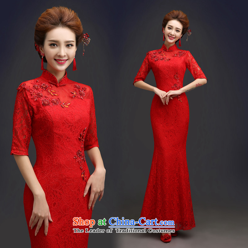 Hannizi 2015 stylish and simple palace style banquet dinner dress pure color red red dress bride?XXL