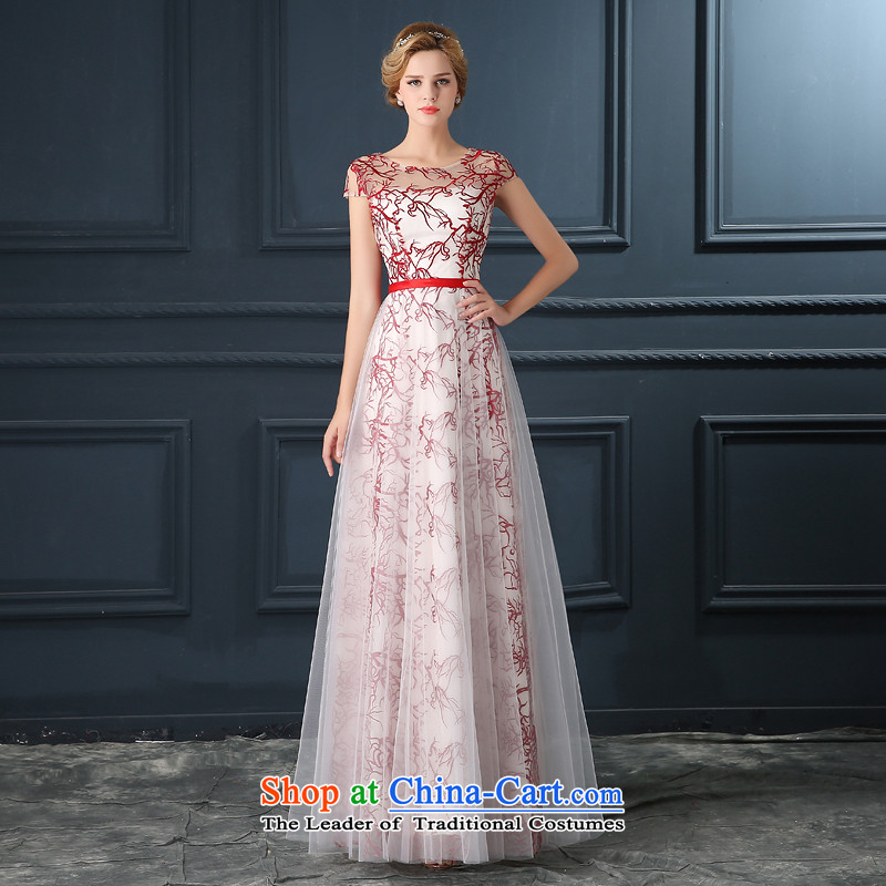 Banquet evening dresses long 2015 annual meeting of the new female show evening dress lace long skirt girl autumn red�XL