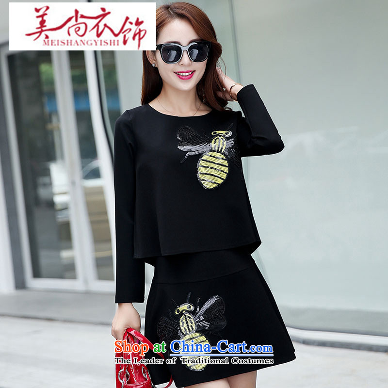 The United States is still clothing?autumn 2015 new products for women Korean Sau San temperament two kits dresses and stylish package during the spring and autumn a black skirt field?XXL
