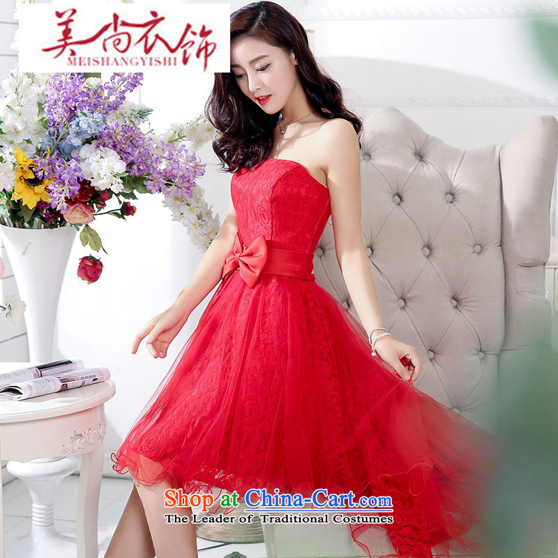 The United States is the new 2015 clothing Korean dress short of bridesmaid spring and fall bride bows services wedding bridesmaid to Princess evening dress red S