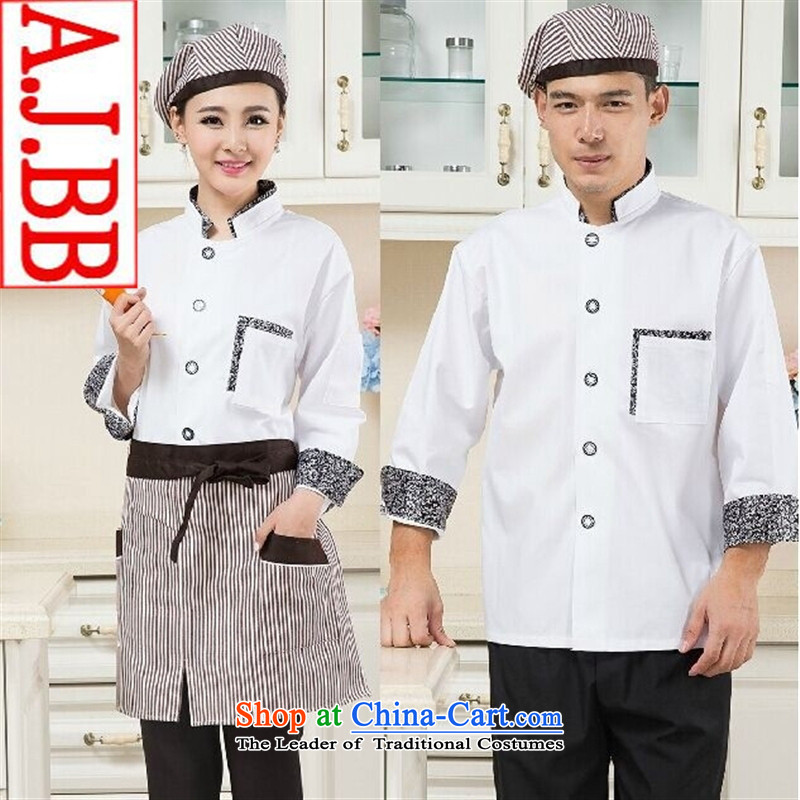 The Black Butterfly autumn and winter men long-sleeved Western Restaurant Bakery Inn chef services white shirts) Ms. (M