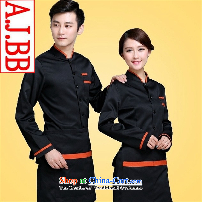 The hotel restaurant Cafe Black Butterfly cakes pastries, kitchen workwear autumn and winter long-sleeved T-shirt (black women men) L