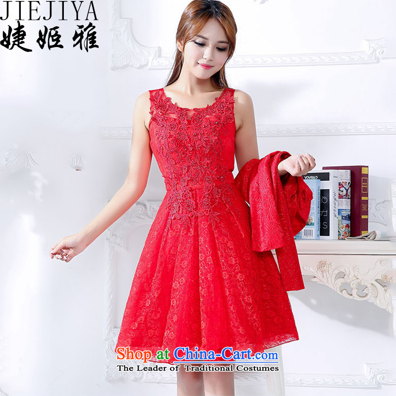 Suu Kyi Nga bridesmaid involving marriages bows banquet two kits dress female red?XL
