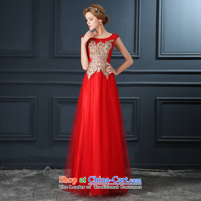 Evening dress 2015 New 2 banquet hosted shoulder length of Korean version thin bows Service Bridal long skirt female red?L