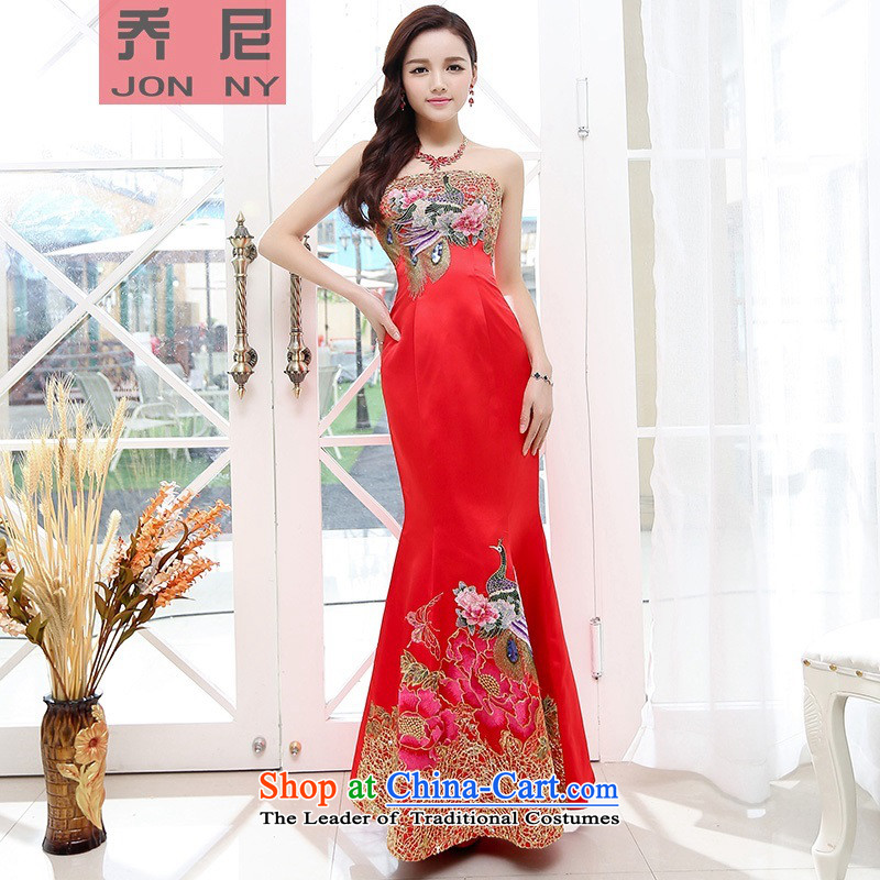 Cioni 2015 stylish wrapped his chest banquet high-end heavy industry embroidery Phoenix peony flowers dresses bridal dresses red?S