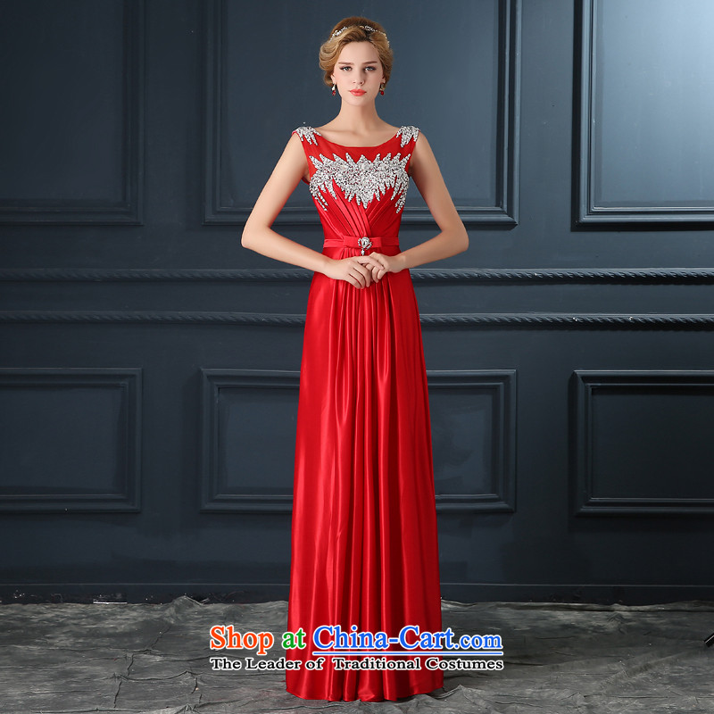 2015 autumn evening dresses new marriages bows service banquet dress shoulders chaired the skirt of Sau San Red?XL