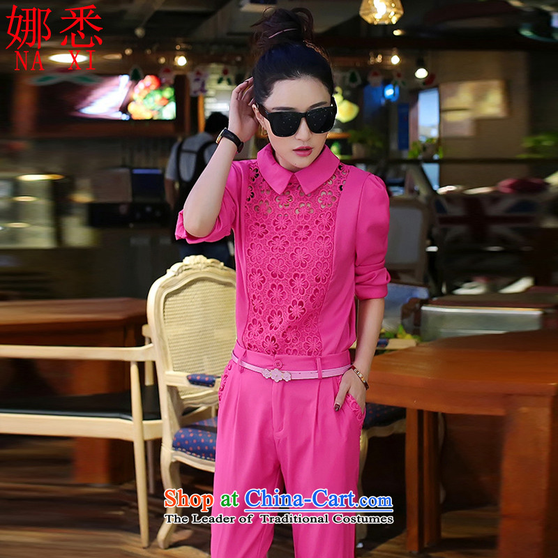 The?real concept of autumn 2015 new Korean woman, stylish package vocational Sau San shirt pants and two kit A8825 pink?XL