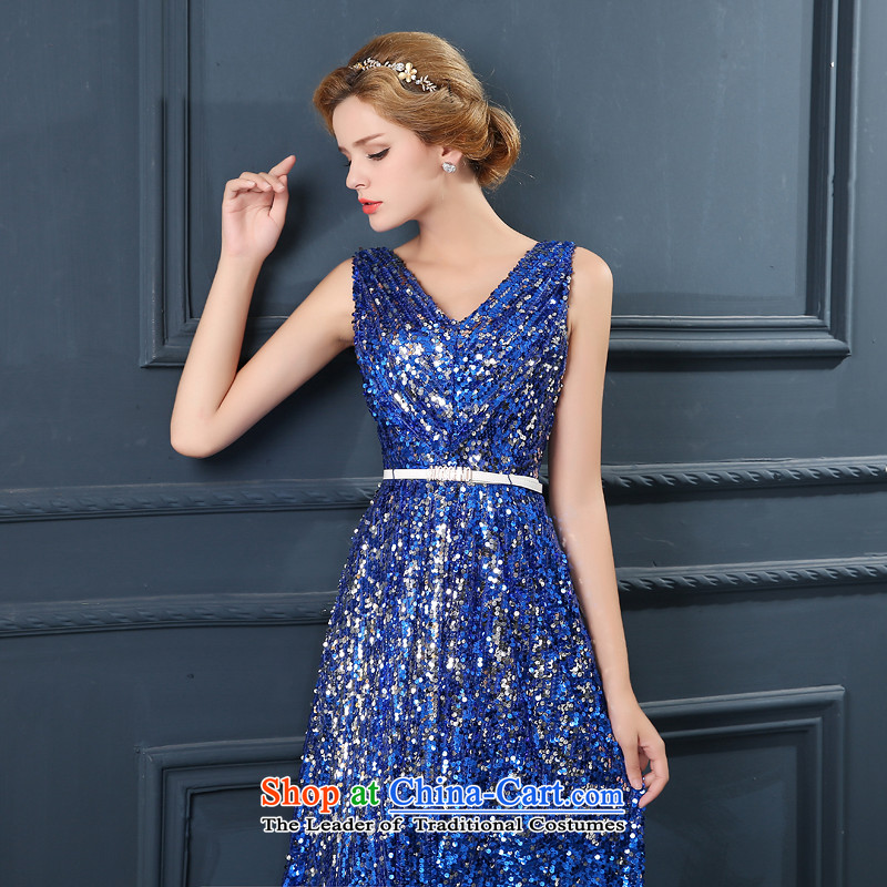 2015 autumn evening dress banquet new stylish shoulders annual meeting under the auspices of evening drink long service bridal dresses Blue?M