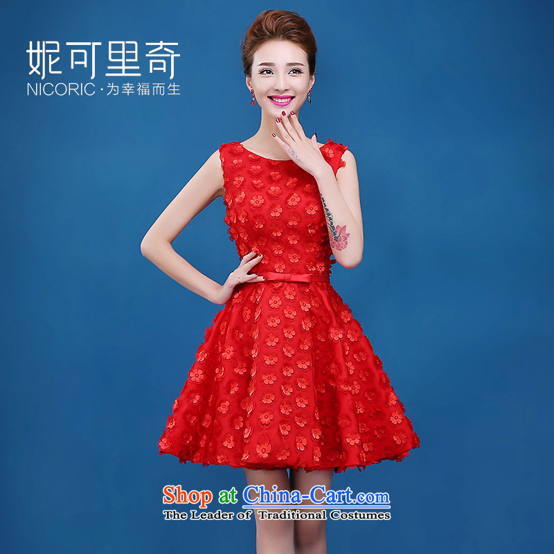 The new 2015 Service bows of autumn and winter sweet shoulders evening dress short of Red Dress Sau San bride red?XL