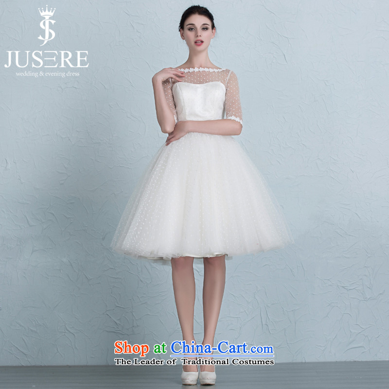 There is a?new 2015 Gigi Lai Yuk-Wedding Dress Short Wave) point bridesmaid service banquet dinner dress lace white sleeves?2 code.