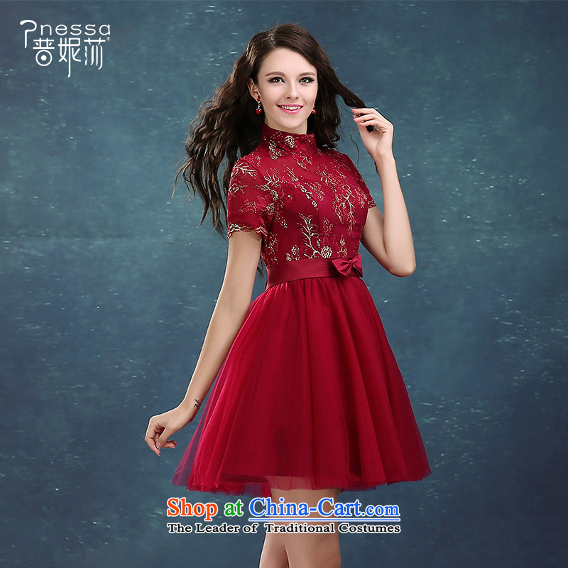 The Korean version of the divas autumn 2015 New Evening Dress Short of Red Dress Top Loin reception Sau San dress autumn dresses Top Loin bon bon skirt small dress dark red?M