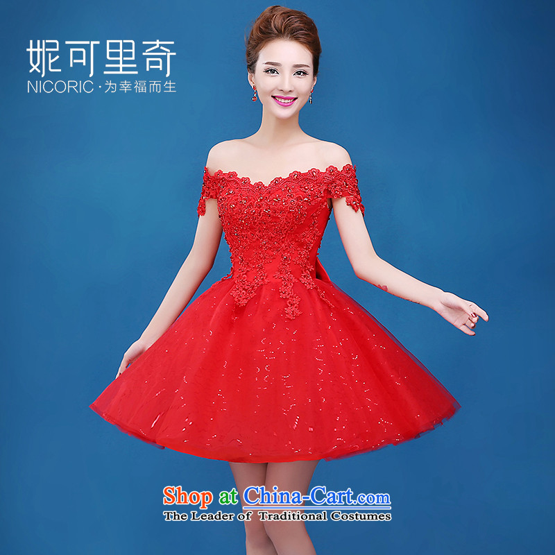 Toasting champagne bride services 2015 new autumn and winter word elegant red dress shoulder short of marriage small red dress Sau San?L