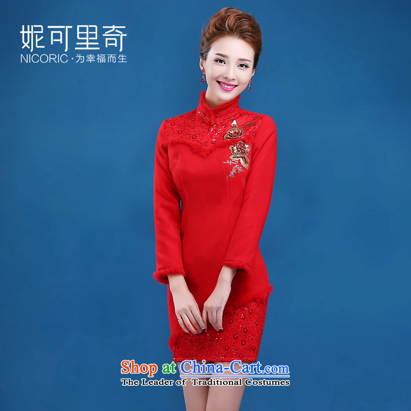 The new 2015 Service bows of autumn and winter red short, long-sleeved marriages bows dress up the waist to Sau San cheongsam dress red?S