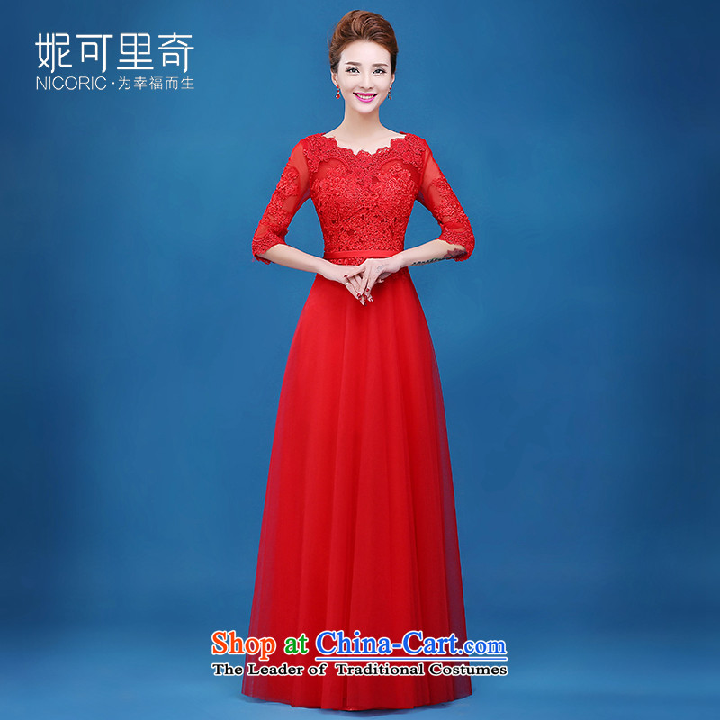 The new 2015 Service bows of autumn and winter bride red high-lumbar evening dress lace dress in cuff zipper Sau San Red�XXL