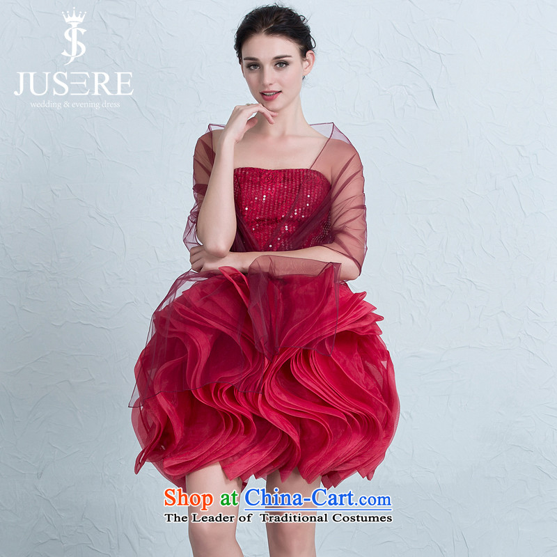 There is a beauty wedding dresses banquet evening dresses bride bows to marry bridesmaid services and short of chest deep red tailored