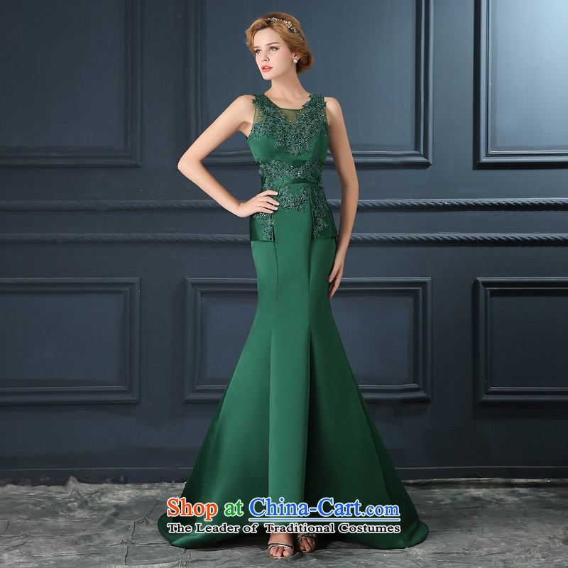Crowsfoot evening dresses 2015 Autumn new marriages bows service long Sau San-trendy shoulder evening dresses dark green?L