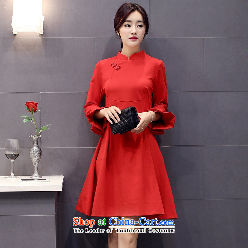 The 2015 autumn and winter Ms. New Pure Color China wind dresses minimalist retro style, a Korean word waist skirt Sau San hundreds pleated skirts petals cuff 2 RED�M